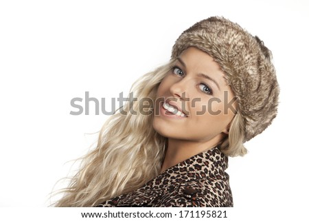 Winter Woman smiling - stock photo