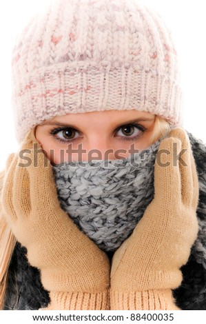 Winter Woman with Scarf covering her mouth and nose
