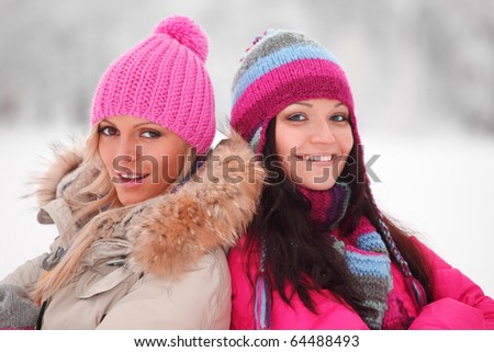winter women close up - stock photo