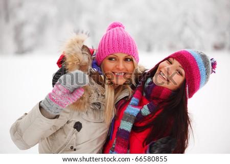 winter women close up portrait - stock photo