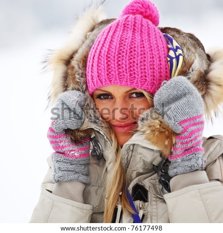 winter women close up portrait - stock photo