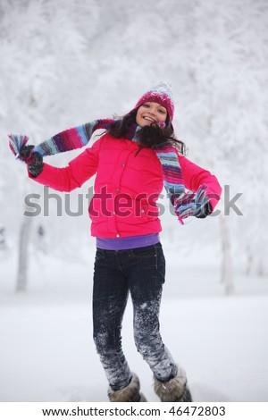 winter women jump - stock photo