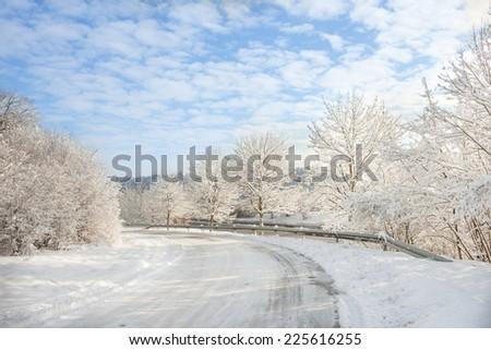 winter wonder land - winter road - stock photo