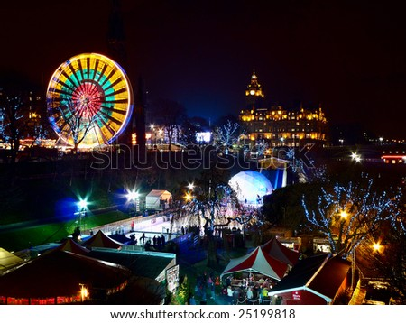 Winter Wonderland attraction, East Princes Street Gardens, Edinburgh, Scotland, UK, at nightfall - stock photo