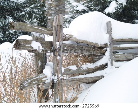 winter wood fence - stock photo