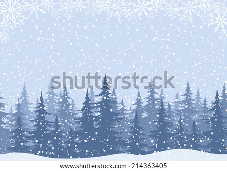 Winter woodland landscape with spruce fir trees and snowflakes, white and blue silhouettes. - stock photo