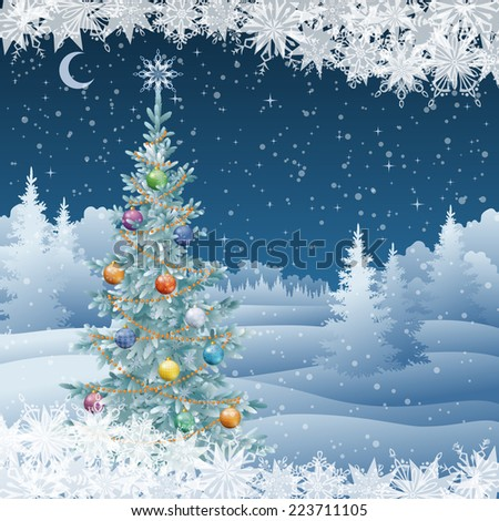 Winter woodland night landscape with decorated holiday Christmas tree and snowflakes. - stock photo