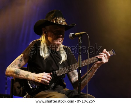 WINTERBACH - NOVEMBER 19: Blues Guitarist Johnny Winter in concert  November 19, 2011 in Winterbach, Germany