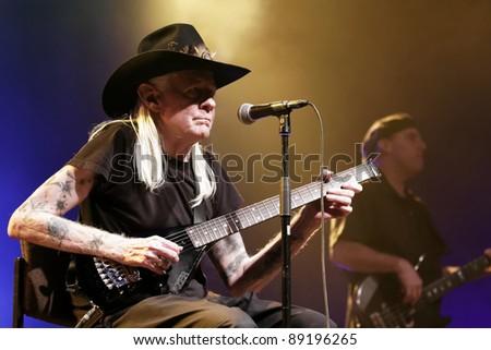 WINTERBACH - NOVEMBER 19: Blues Guitarist Johnny Winter in concert  November 19, 2011 in Winterbach, Germany - stock photo