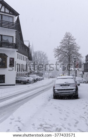 WINTERBERG, GERMANY - FEBRUARY 9 : Snowstorm in Winterberg.