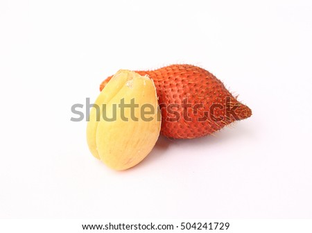 Wintergreen shell on white background, Salak Palm fruit, tropical fruit in Thailand.