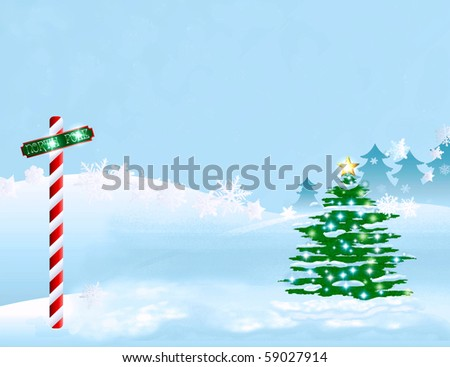 winters north pole holiday illustration