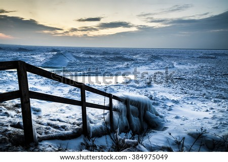 Winters Sunset on Lake Huron Shore