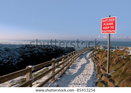 winters view at ballybunion cliffside walk with cliff face - stock photo