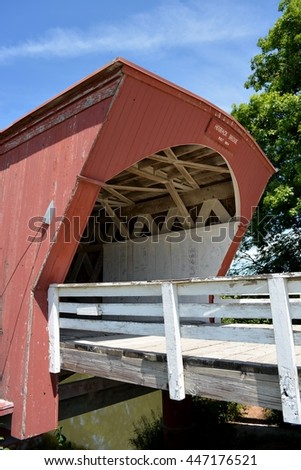 Winterset, Iowa-July 1st, 2016: View of the Hogback Covered Bridge north of Winterset, Iowa that was used in the Bridges of Madison County Movie.