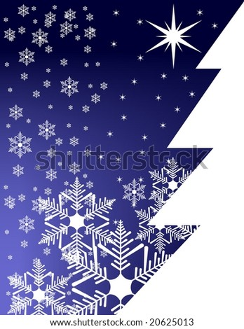 wintertime background with christmas pines and ornamental snowflakes