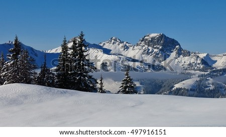 Wintery landscape in Gstaad, Switzerland