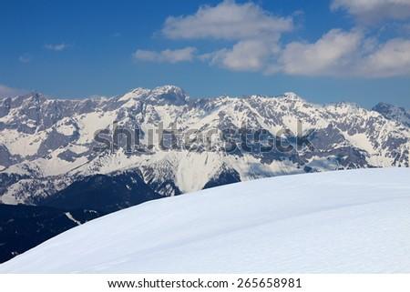 Wintry Alps near Reiteralm, Austria - stock photo