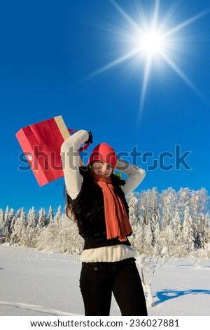 Wintry Fun Near Snowy Trees  - stock photo