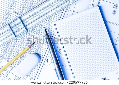 Wipe the slate clean, planning engineers and architectural works. In blue tone - stock photo