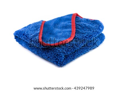 Wipes microfiber blue on a white background .