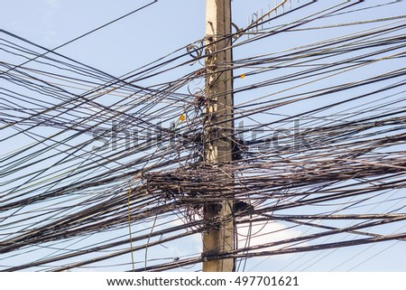 Wire and cable clutter. Potential danger from a mess of wires at Thailand.
