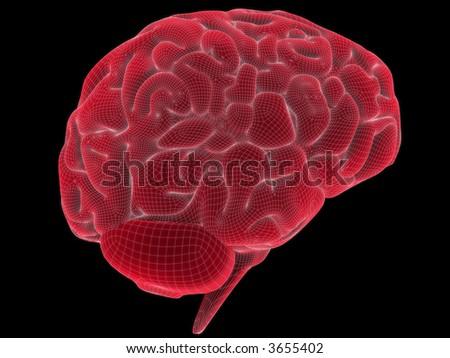 wire brain - stock photo
