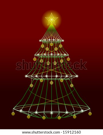 Wire christmas tree with lights and ornaments (vector version also available)
