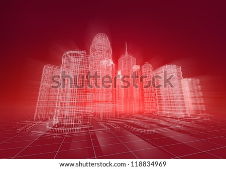 Wire city abstract background - stock photo