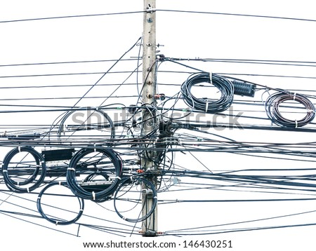 Wire electric in pole it messy - stock photo