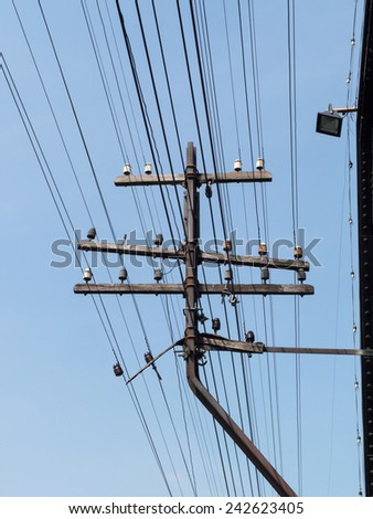 wire electricity In the city - stock photo