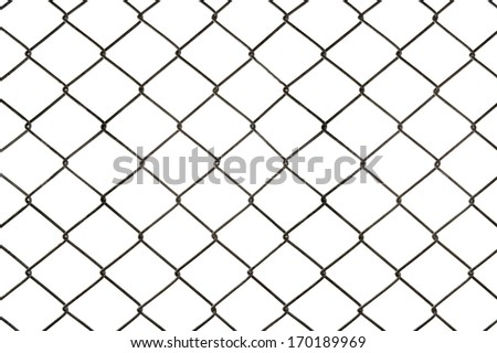 Wire fence seamless on white background.