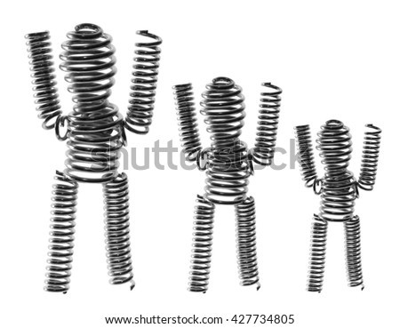 Wire Figures on White Background - stock photo