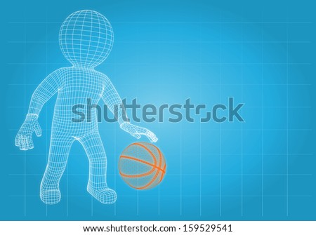 Wire frame basketball player with the ball. Render on a blue background - stock photo