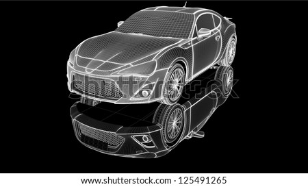 Wire-frame car - stock photo