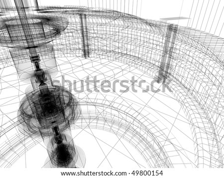 Wire-frame sketch of industrial lab - stock photo
