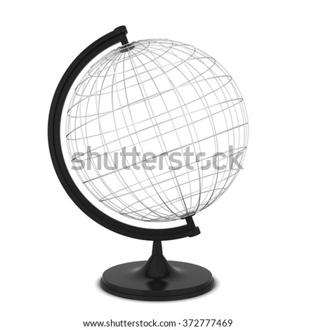 Wire globe. 3d illustration isolated on white background
