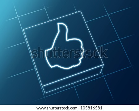 Wire glowing 3d boxes with hand sign - stock photo