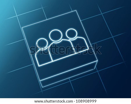 wire glowing Group sign over box and net - stock photo