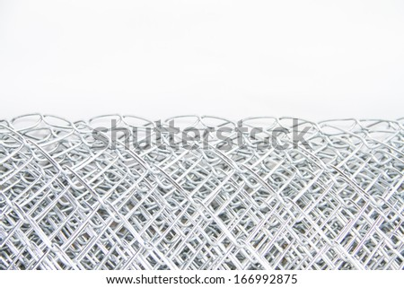 Wire mesh on white background