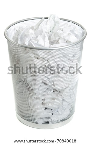 Wire Mesh Trash Can on White. Full of crumpled paper, Top Angle view. - stock photo