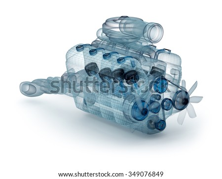 Wire model of engine with turbocharger over white. My own design. - stock photo