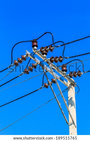 Wire on a power pole -Street Light  - stock photo