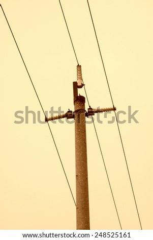wire rod in the cloudy sky, north china