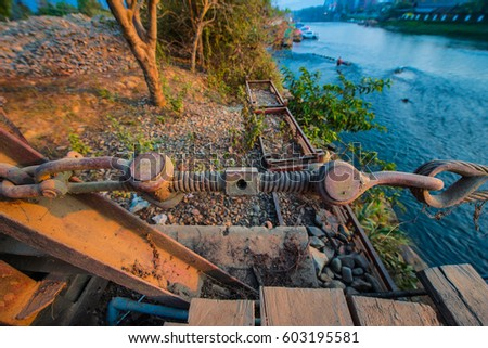 Wire Rope Make Strong Bridge Stock Photo (Royalty Free) 603195581 ...