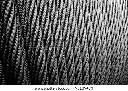 wire rope texture - heavy duty steel wire cable or rope for heavy industrial use - stock photo