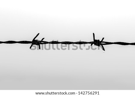 Wire spiked with a drop of water sliding - stock photo