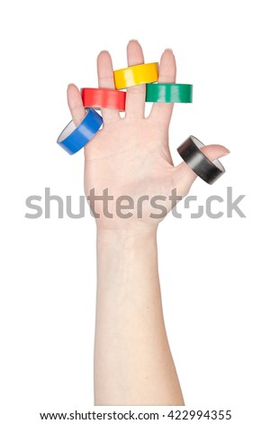 wire tapes in a hand isolated on white background. construction tools - stock photo