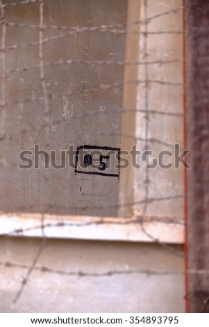 wire-tuol sleng-cambodia - stock photo