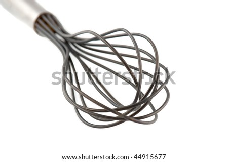Wire Whisk isolated on white. Swallow DOF. - stock photo